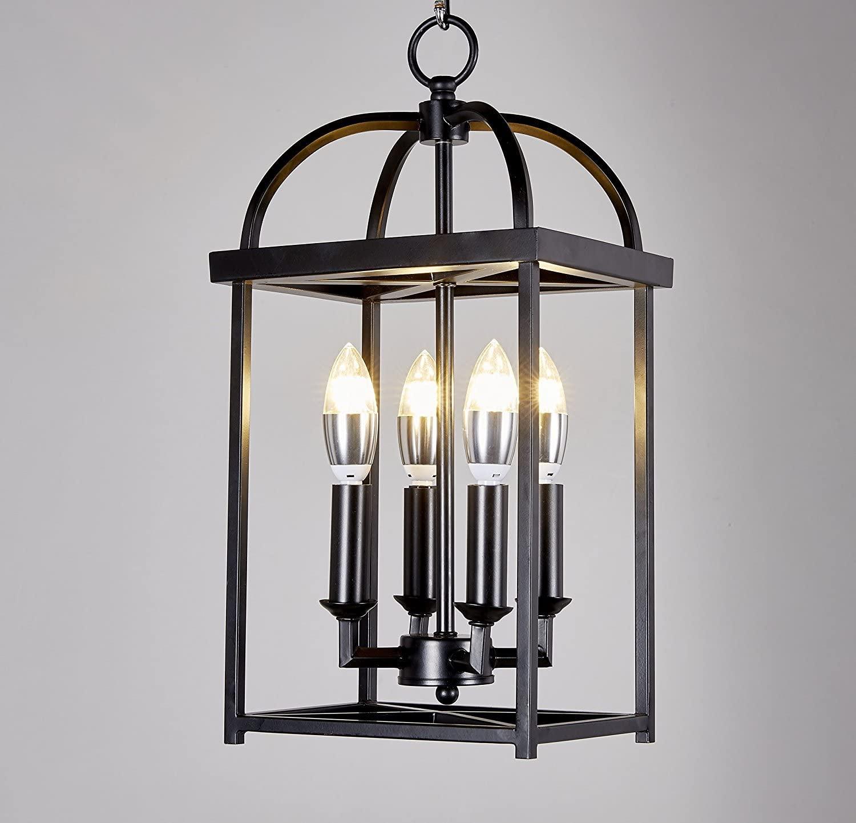 Top Lighting Antique Black Finish 4-Light Hanging Lantern Iron Frame Pedant Chandelier