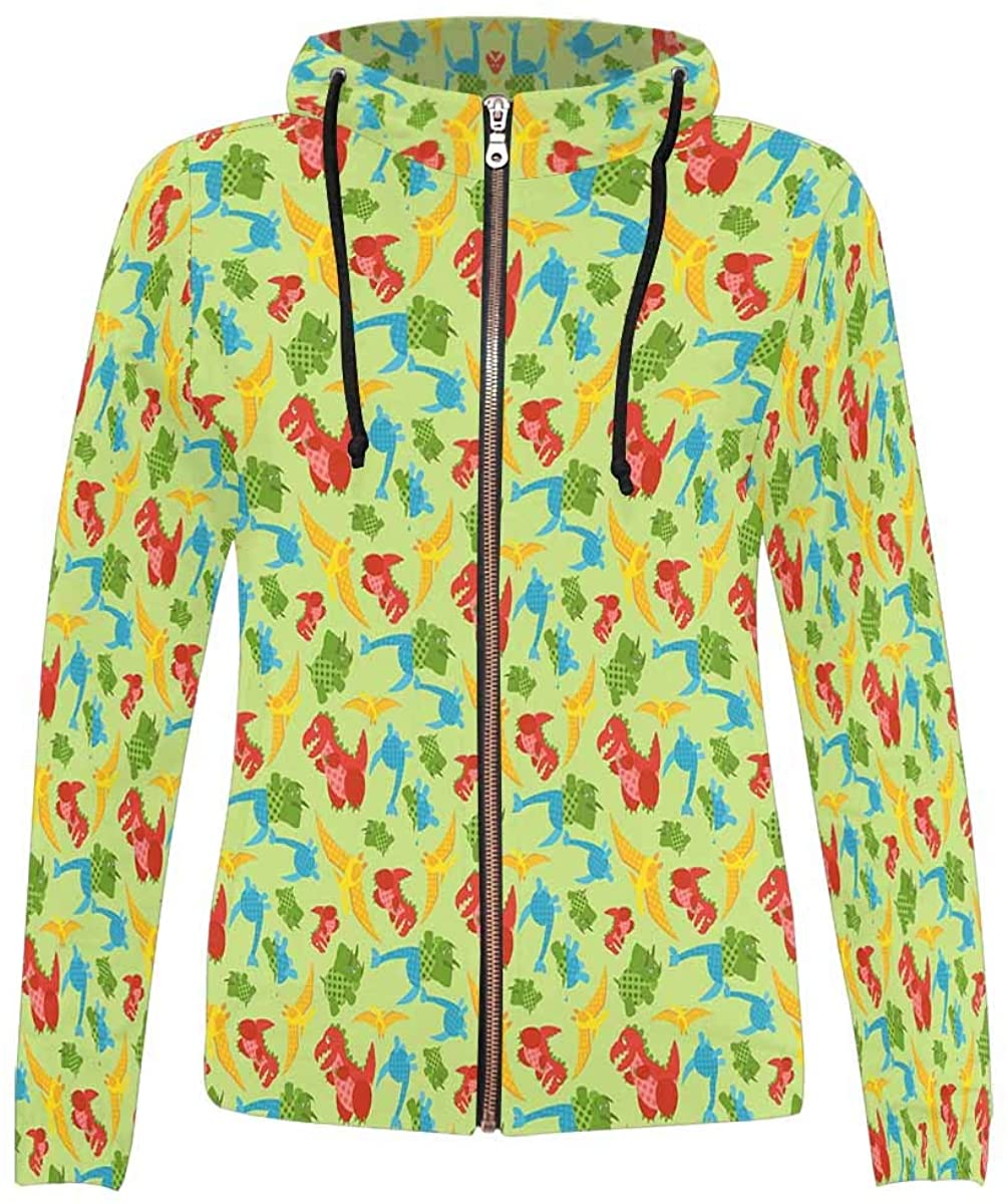 INTERESTPRINT Women's Christmas Snowman Snowflake Tree Full-Zip Hoodie XS