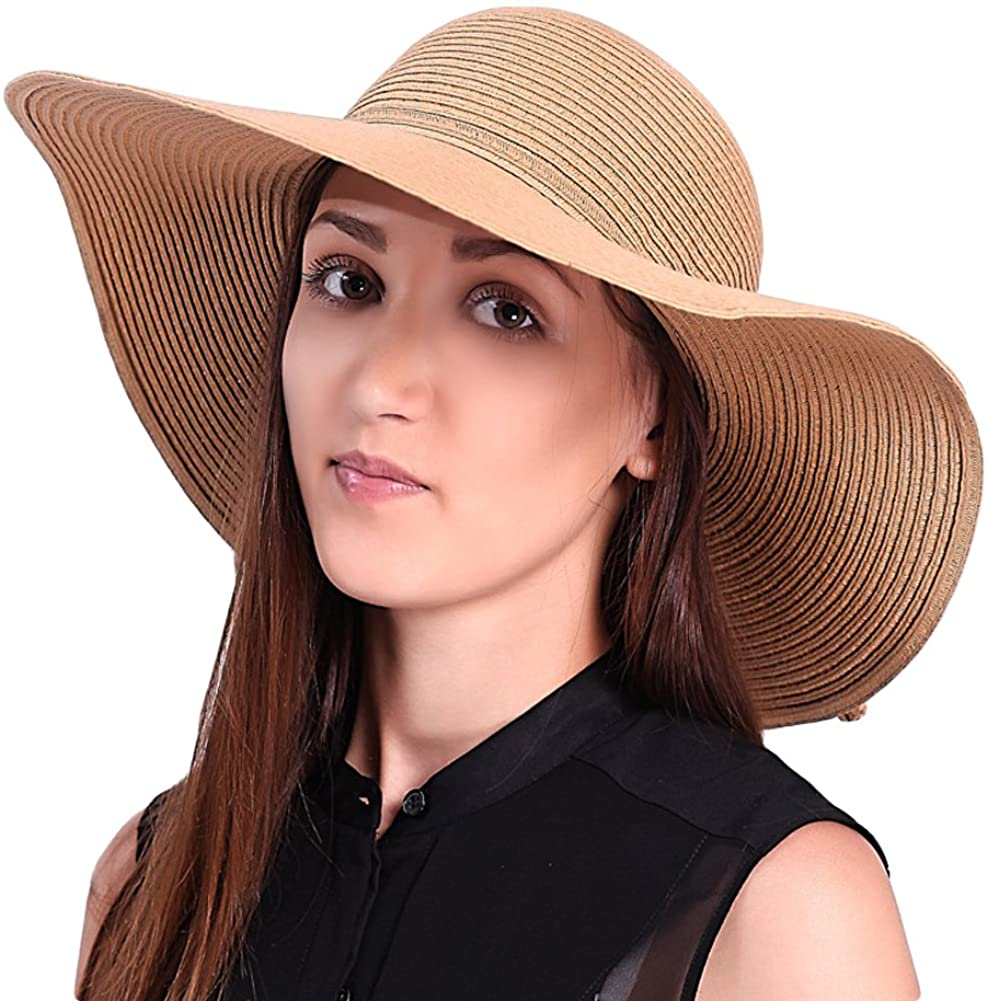 JOOWEN Sun Visor Hat Wide Brim Cap Floppy Foldable Beach Straw Hats for Women