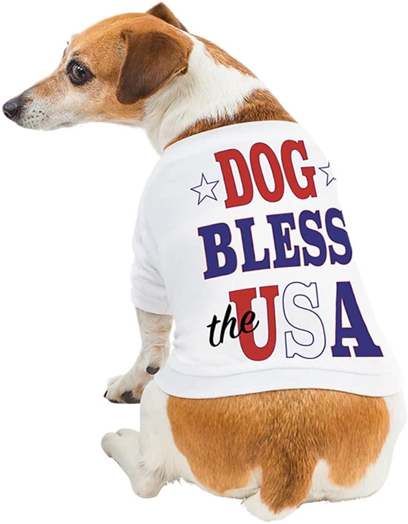 Just Add My Dog 6050 Dog Bless USA Dog Shirt White
