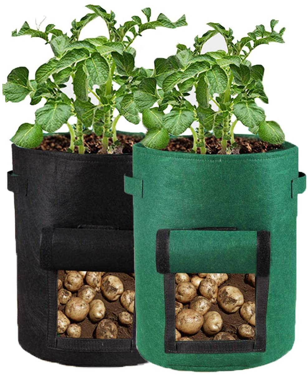 PJDH 2 Pack Plant Grow Bags, 10 Gallon Potato Grow Bags Planting and Potato Non-Woven Planting Reusable, Black+Dark Green DHPGB01-2MIX