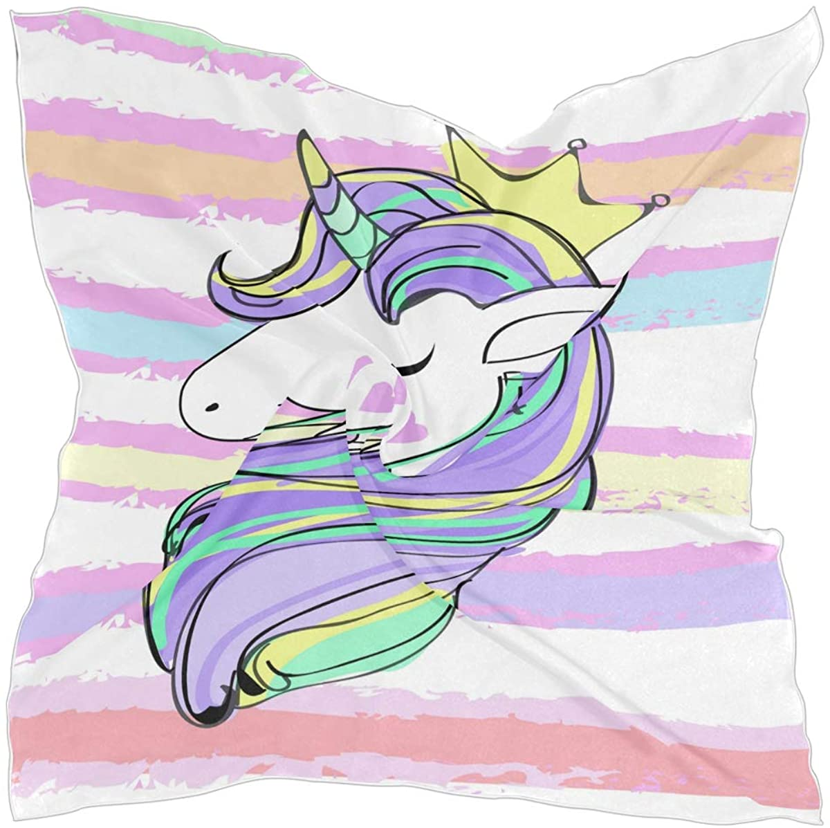 Oprint Square Scarf Polyester Unicorn Head And Striped Lightweight Head Neck Scarf Kerchief for Women Girls