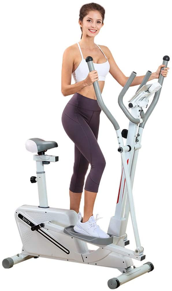 Wenjuan Magnetic Elliptical Trainer Machine - Health & Fitness Elliptical Machine Cross Trainer for Home Use with 16 Level Resistance,Tablet Holder and Digital Monitor [US Stock]