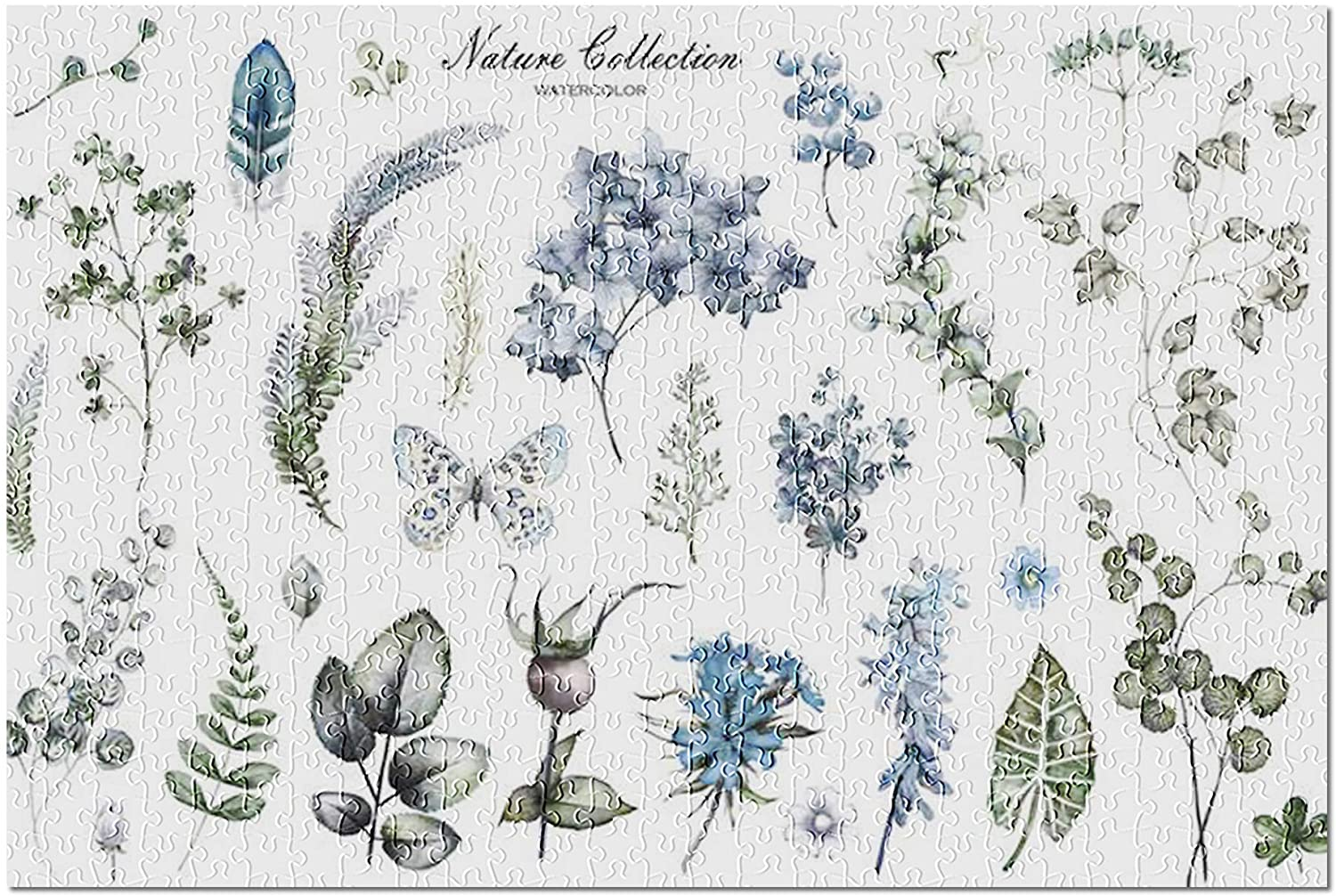 Watercolor Illustration Set of Wildflowers, Herbs, Leaves on White 9014426 (Premium 500 Piece Jigsaw Puzzle for Adults, 13x19)