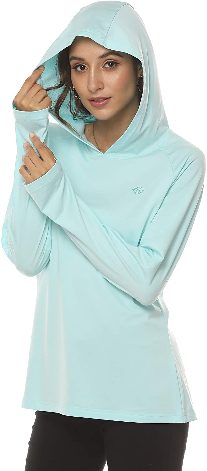 AjezMax Women's Lady Active Hooded T-Shirt Long Sleeve Quick Dry Top Shirt with Thumb Holes