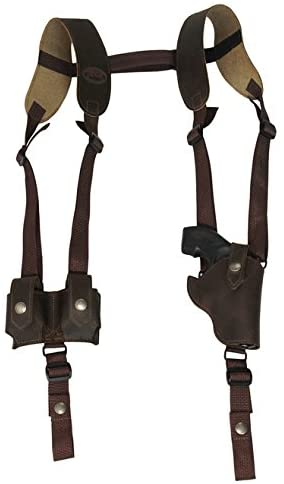 Barsony New Vertical Brown Leather Shoulder Holster w/Speed-Loader Pouch for Snub Nose 2