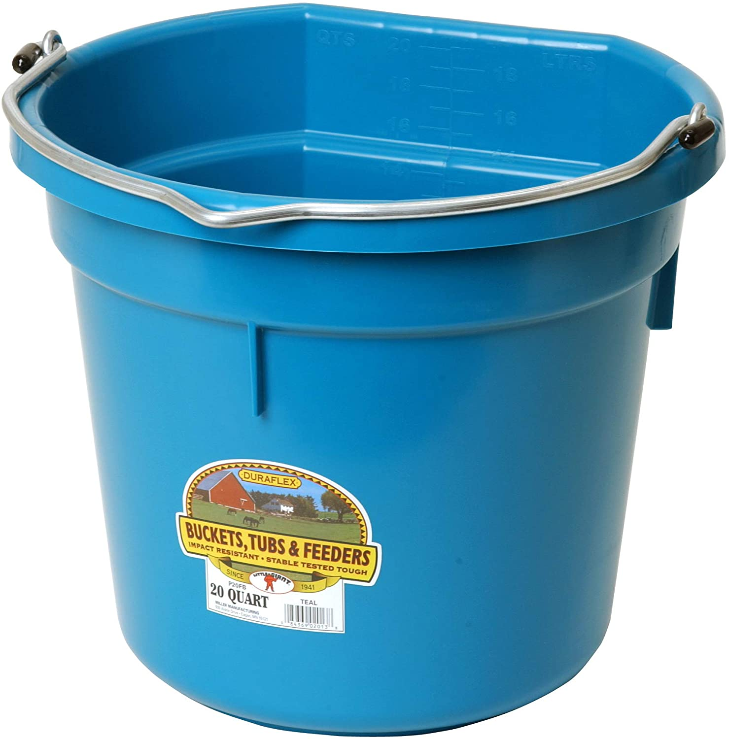 Little Giant Plastic Animal Feed Bucket (Teal) Flat Back Plastic Feed Bucket with Metal Handle (20 Quarts / 5 Gallons) (Item No. P20FBTEAL6)