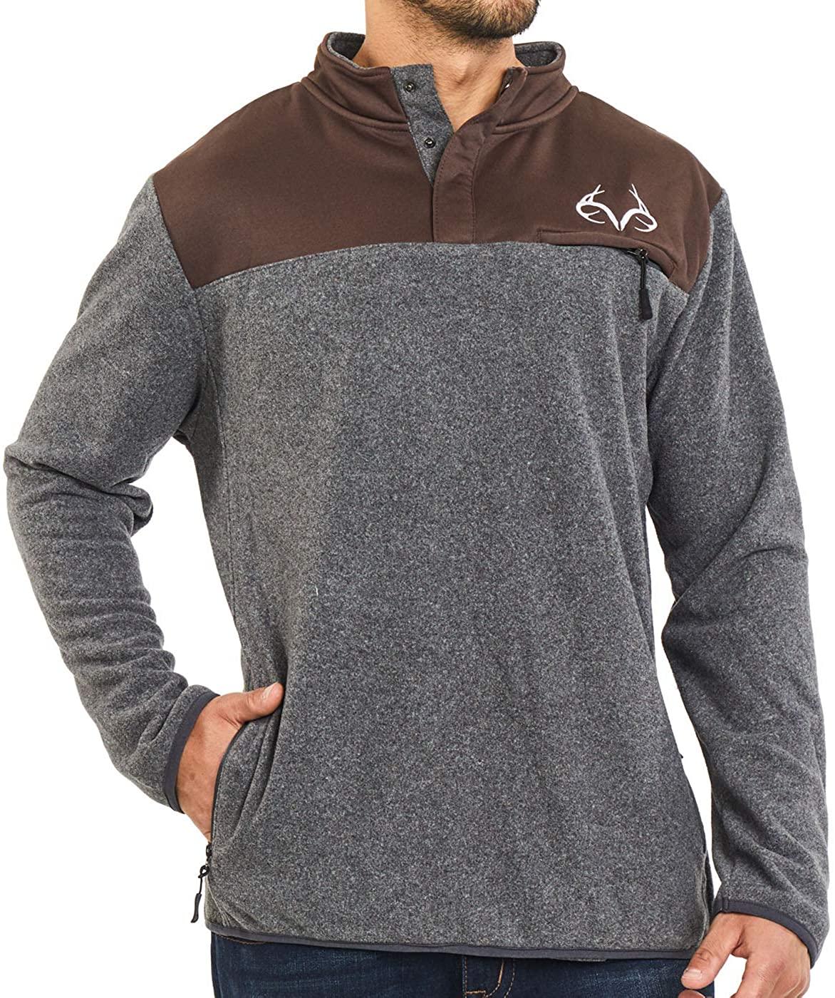 Realtree Men's 1/4 Zip and Snap Button White Edge Camo Pullover Fleece Sweater Jackets
