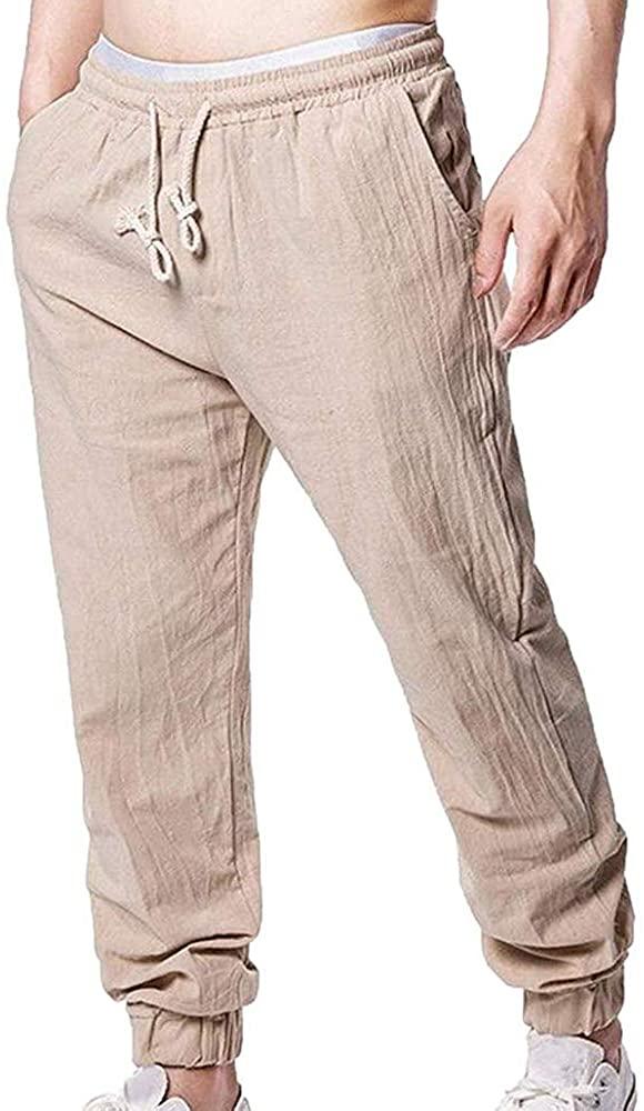 lexiart Men's Fashion Linen Pants Caual Yoga Trousers Lightweight Sweatpants Sport Pant