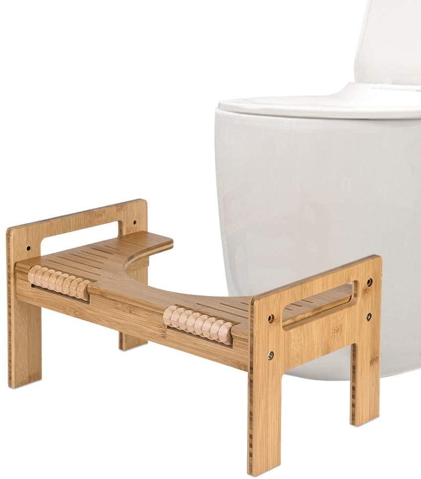 Bamboo Squatting Toilet Stool,Adjustable Bamboo Squatting Toilet Stool Portable Bathroom Squatting Urinalfor Bathroom Squatting Urinal for Bathroom (US Shipping)