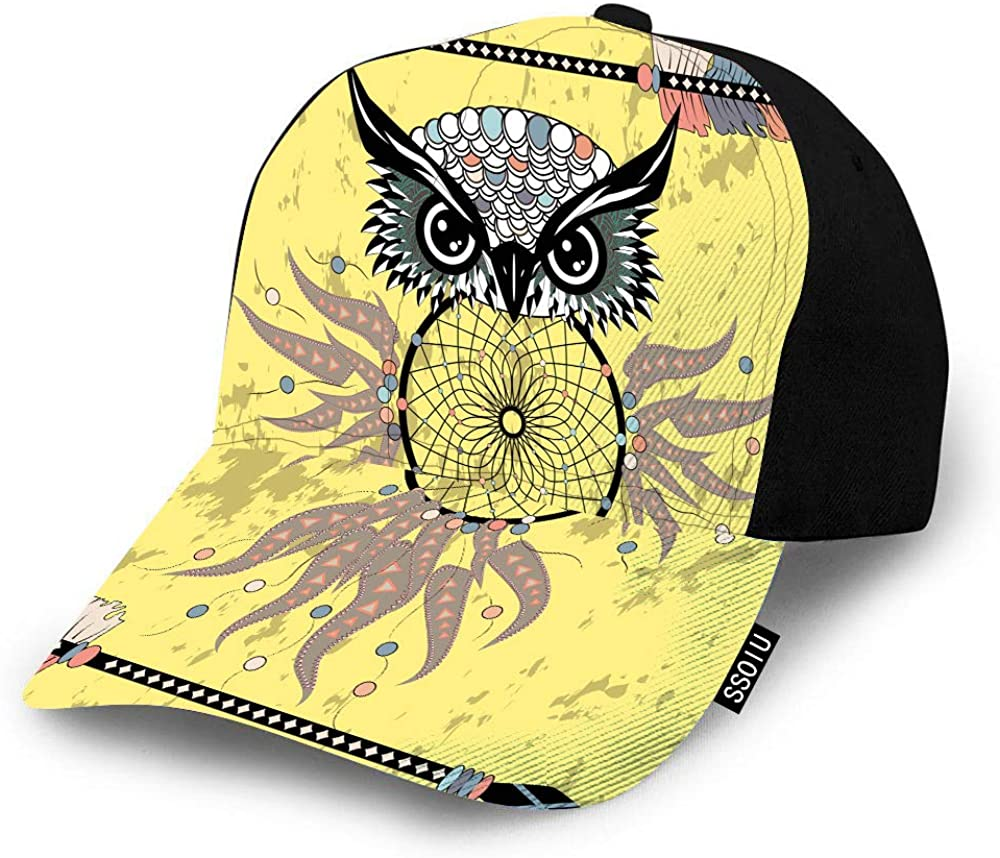 SSOIU Owl Dreamcatcher Baseball Cap for Men Women,Abstract Bird Mystic Symbol Indians Animal Ethnic Magic Baseball hat Unisex Adjustable Hats