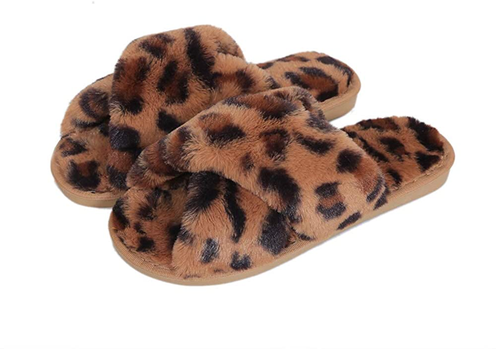 Fericzot Women's Fuzzy Fluffy Furry Fur Slippers Flip Flop Winter Warm Cozy House Memory Foam Sandals Slides Soft Flat Comfy Anti-Slip Spa Indoor Outdoor Slip on
