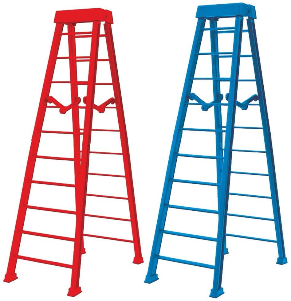 Set of 2 Large 10 Inch Breakaway Ladders for WWE Wrestling Figures: Red & Blue