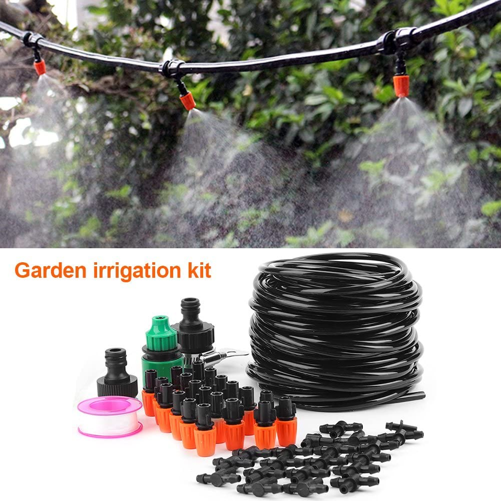 Garden Irrigation Hose Kit, Micro Water Irrigation System Garden Greenhouse Plants Automatic Watering 15M Hose Set Kit