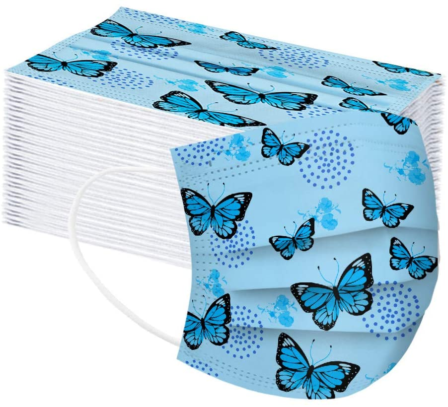 50pcs Blue Butterfly Painting Mask Adults Mask Disp0sable Protection 3 Layer Face Mask Breathable Printing Mask PM2.5 Breathable Mouth Mask Unisex Face Mask Printing Industrial 3Ply Ear Loop Mask