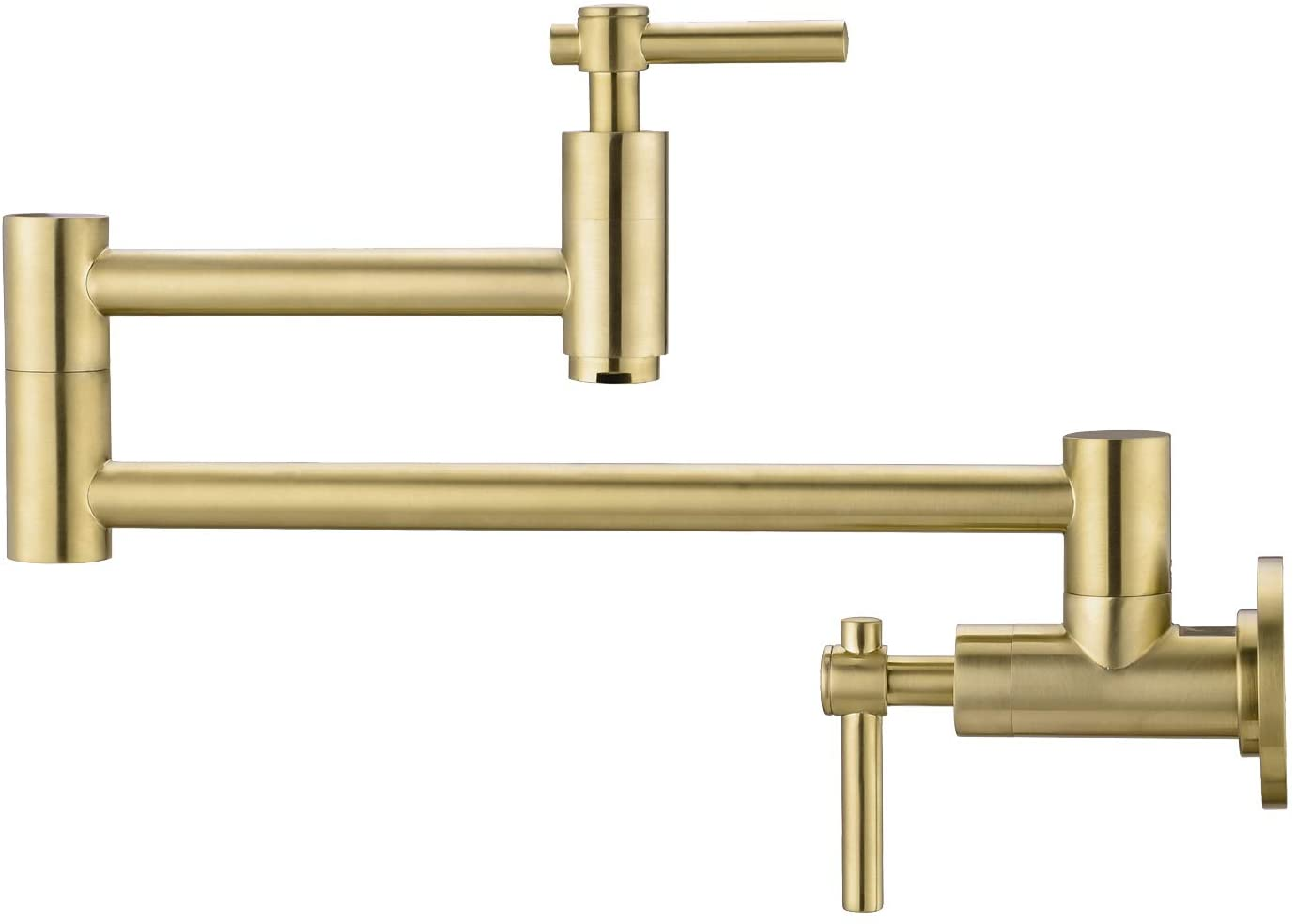 BZOOSIU Pot Filler Faucet Wall Mount, Double Joint Swing Arms Solid Brass Folding Faucet, Single Hole Two Handles Wall Mount Kitchen Faucet, Brushed Gold