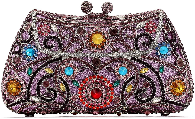 Handmade Rhinestone Clutch Bag Women's Luxury Full Diamond Color Crystal Evening Bags Metal Chain Mini Handbag