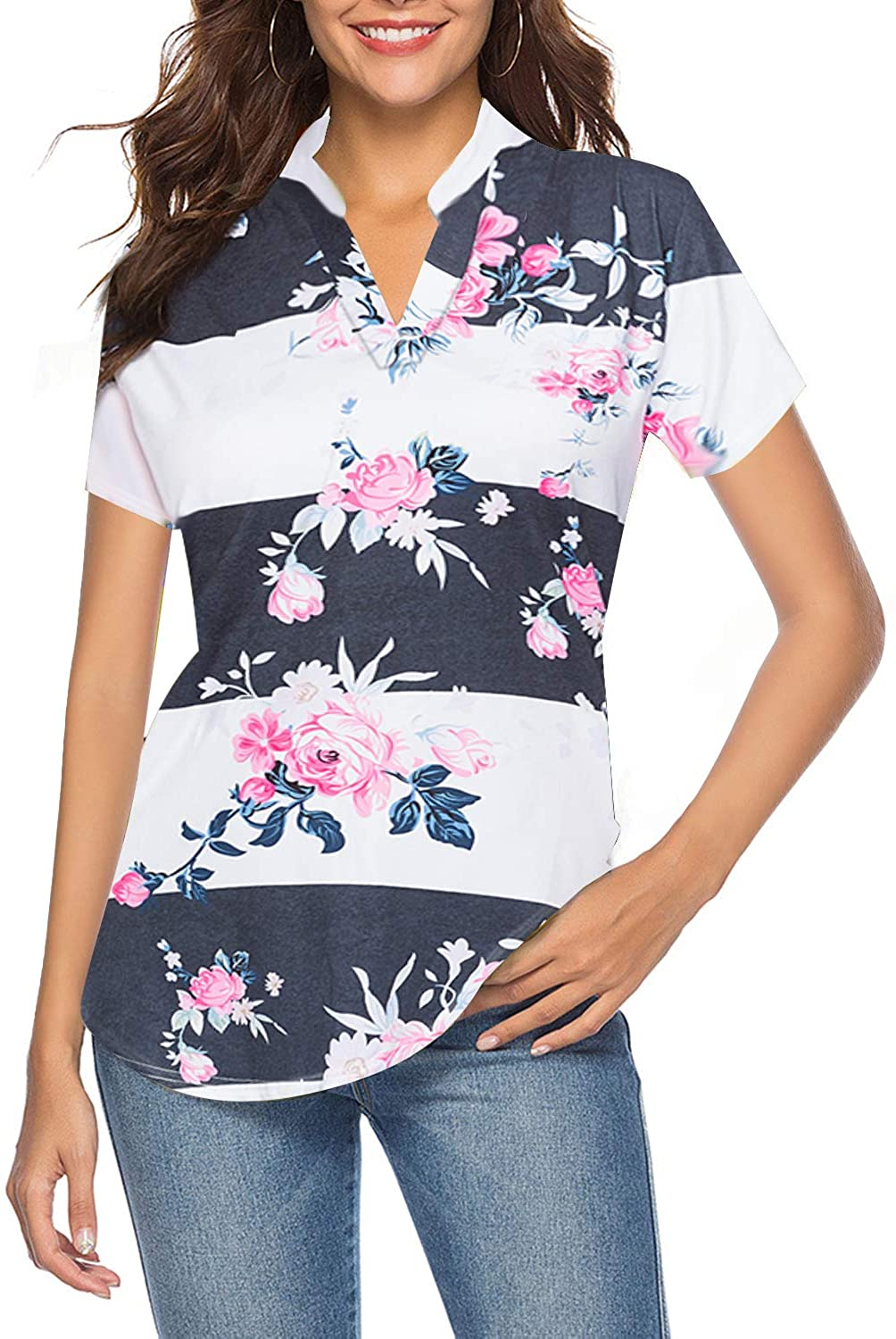 CEASIKERY Women's Short Sleeve Floral V Neck Tops Casual Tunic Blouse Loose Shirt 002