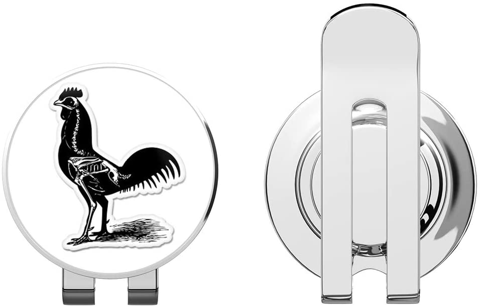 888 Graphics Rooster Skeleton Golf Hat Clip with Magnetic Ball Marker
