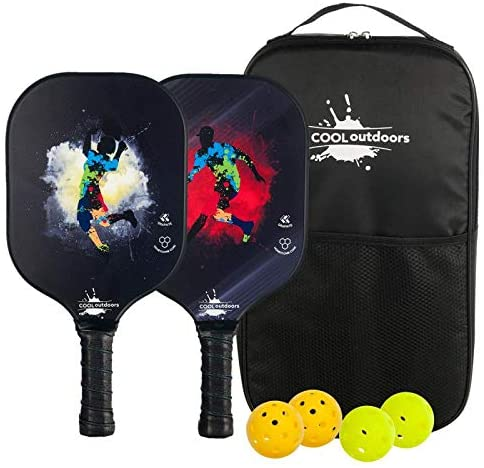 Cooloutdoors Pickleball Paddle Set-2, Graphite Rackets & Polymer Core 4 Pickleball, Honeycomb Core Inside, Slim Edge Guard, Pickleball Rackets Lightweight for Men Women Kids Indoor Outdoor