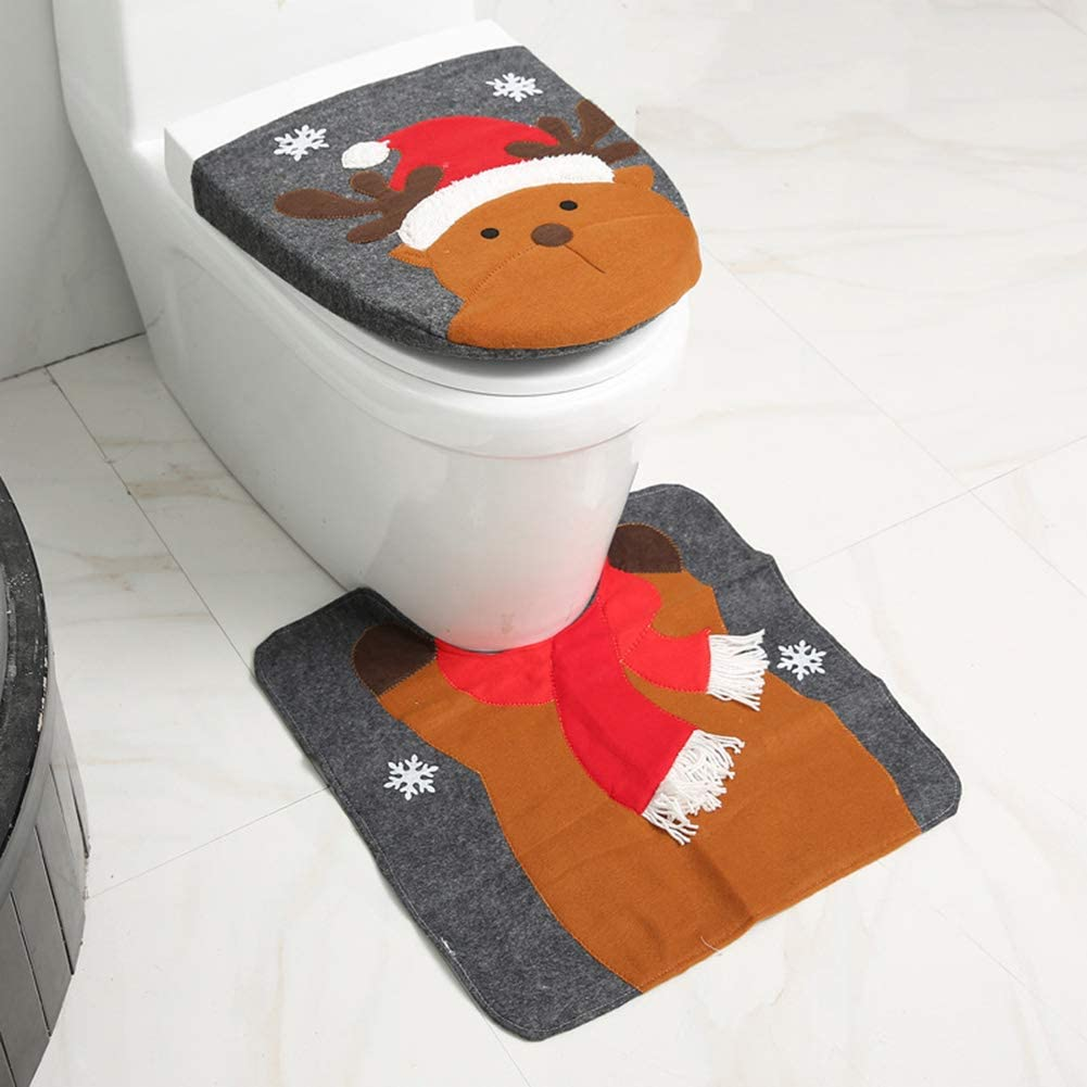 Hasde Christmas Bathroom Decorations, Christmas Bathroom Santa Claus Toilet Lid Cover and Rug for Home Decorations, for Xmas Holiday Party Festival Home Decor 2 Pcs