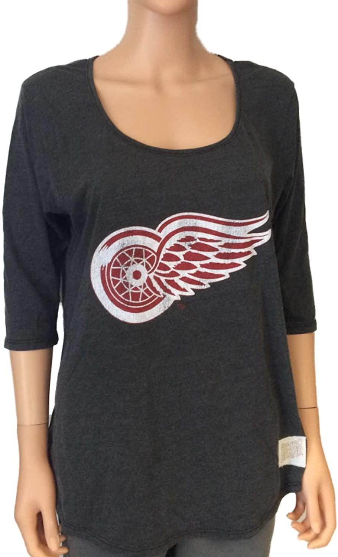 Retro Detroit Red Wings Brand Women Gray 3/4 Sleeve Scoop Boyfriend T-Shirt (L)
