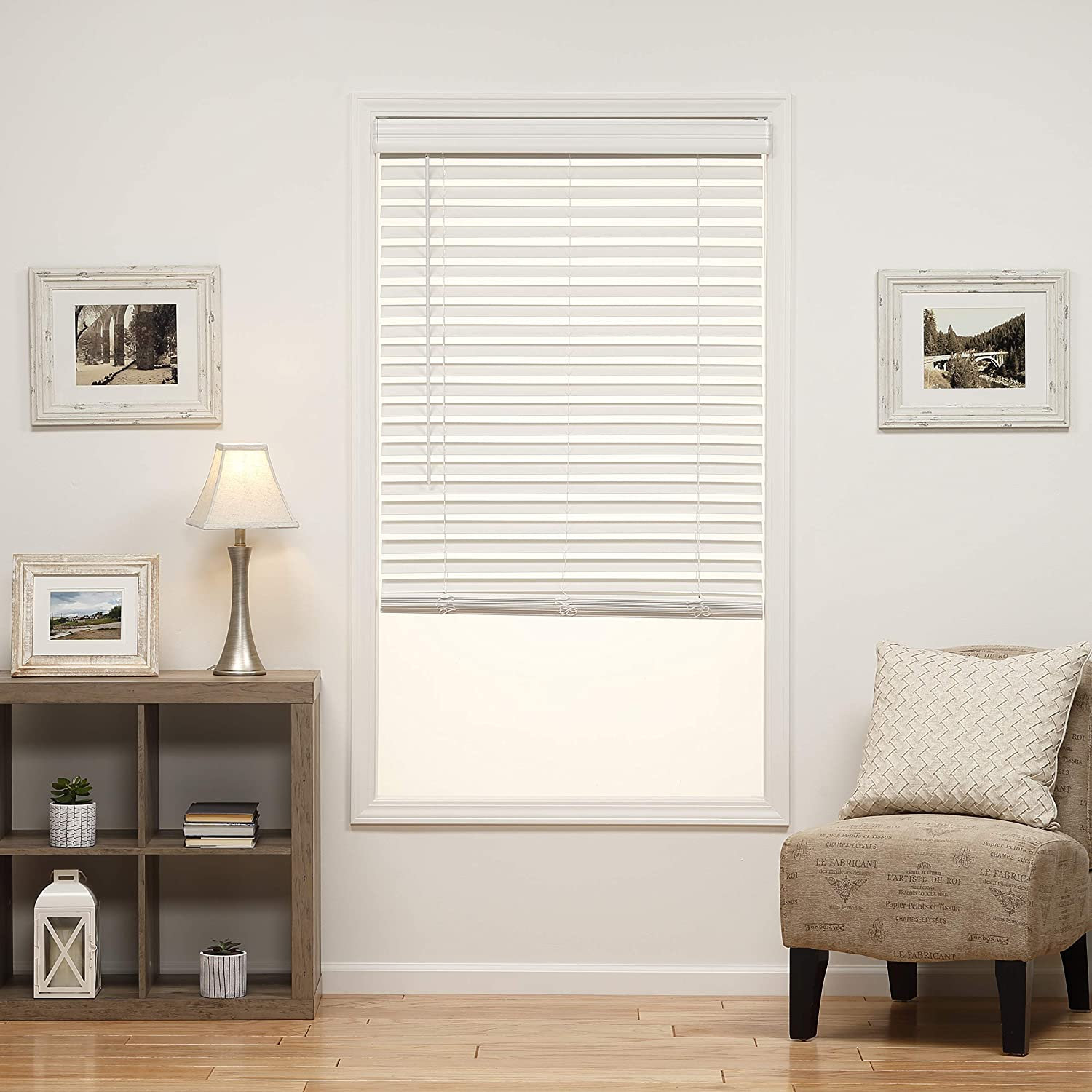 DEZ Furnishings QJWT230640 2 in. Cordless Faux Wood Blind, 23W x 64L Inches, White