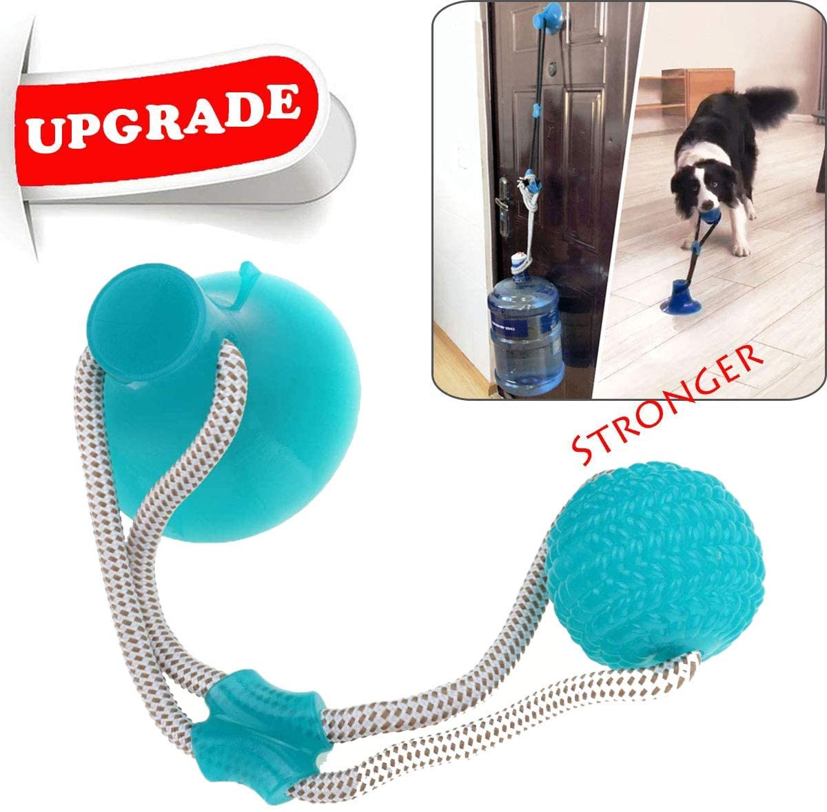 NonoGo Suction Cup Dog Toy, Pet Molar Bite Toy, Dog Multifunction Interactive Ropes Toys, Self-Playing Rubber Chew Ball Toy for Teeth Cleaning, Suitable for Dogs PS1001