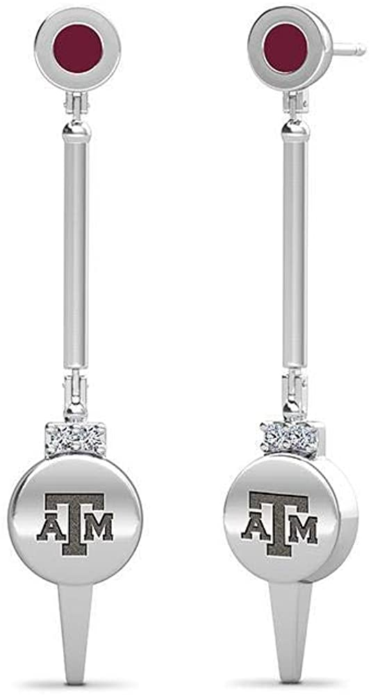 Texas A&M University Engraved Sterling Silver Diamond Dangle Earrings In Maroon
