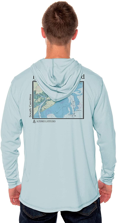 Coastal Classics Hilton Head Nautical Chart Men's UPF 50+ Sun Protection Long Sleeve Hoody