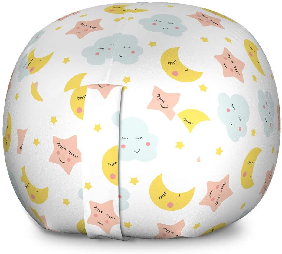 Lunarable Moon Storage Toy Bag Chair, Nursery Sleep Time Theme Stars Clouds Simplistic Cartoon Characters, Stuffed Animal Organizer Washable Bag for Kids, Large Size, Earth Yellow Pale Blue