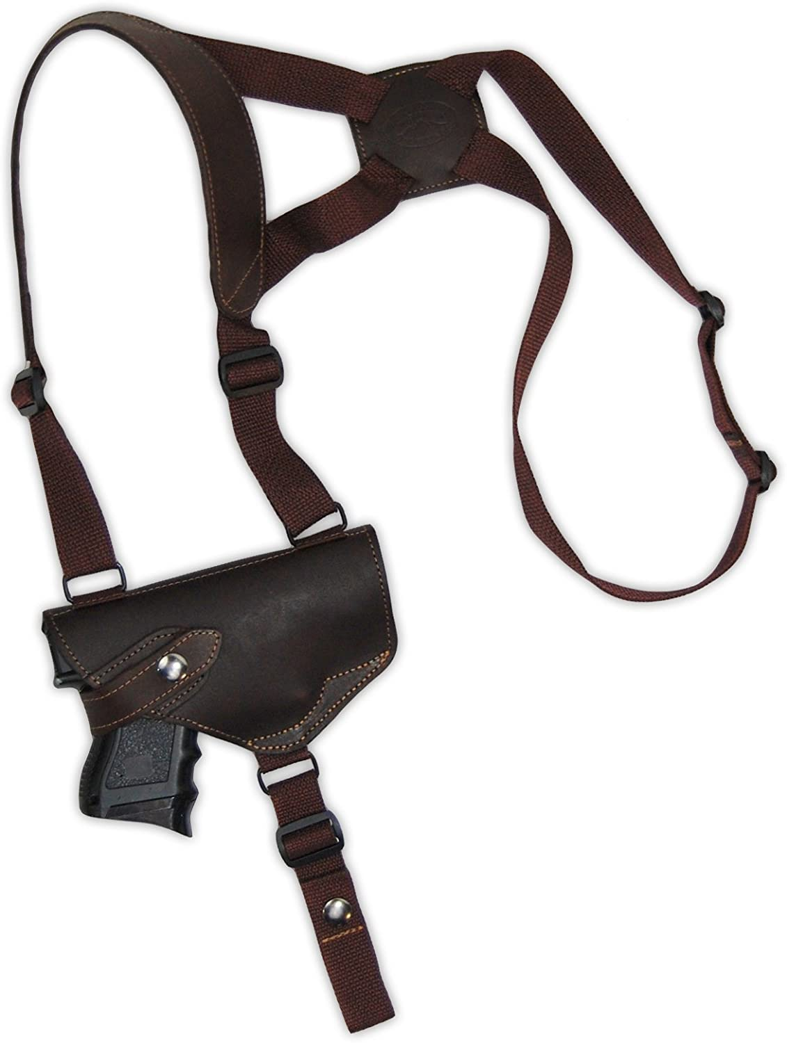 Barsony New Brown Leather Shoulder Holster for Compact 9mm 40 45 Pistols