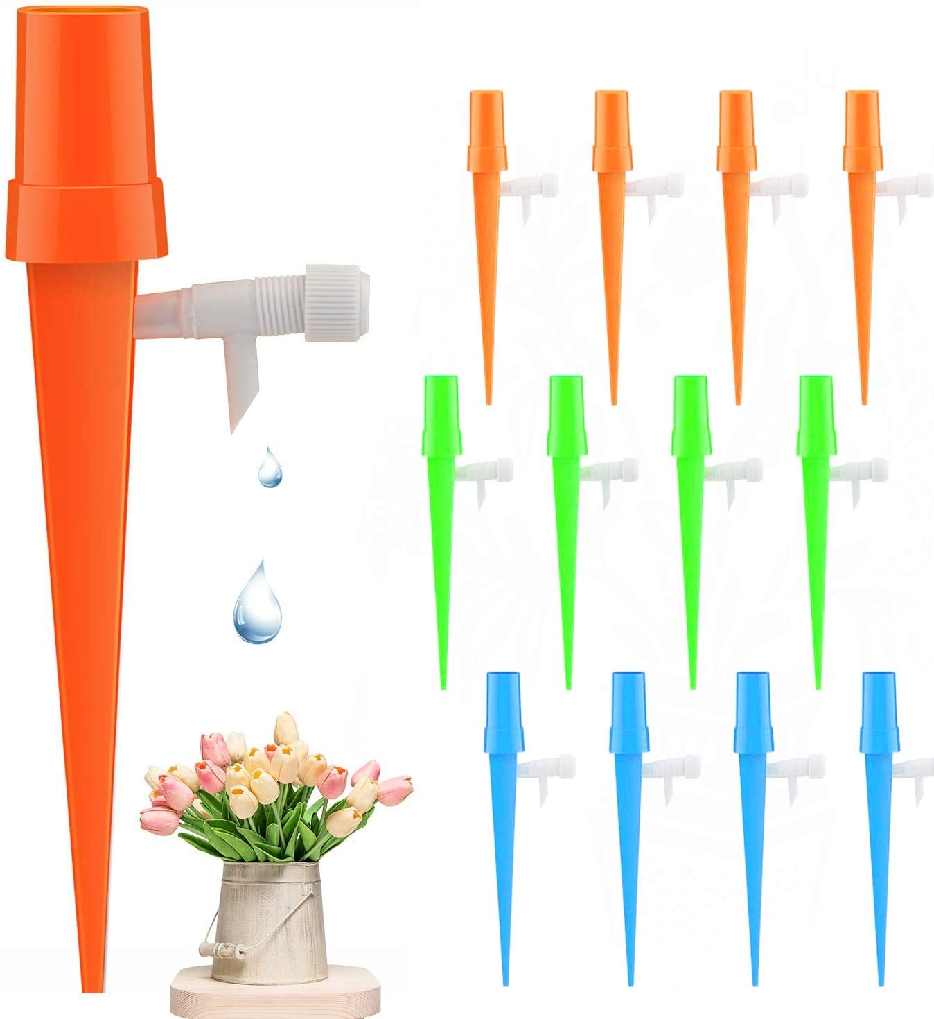 Plant Self Watering Spikes Devices for Plant Watering Devices with Slow Release Control Valve Switch Automatic Irrigation Watering Drip System for Potted Plant Flower (12 Pack)
