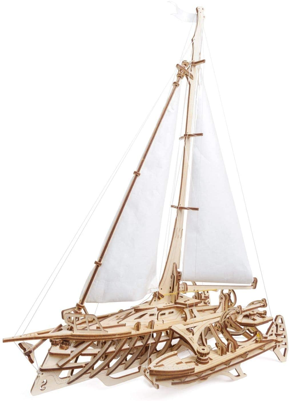 UGEARS 3d Puzzles For Adults Trimaran Merihobus - Wooden Mechanical Models Construction Craft Kits For Adults
