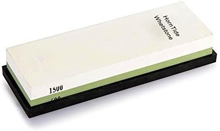 HornTide 600/1500 Grit Combination Whetstone 7-Inch Corundum Waterstone Dual-Sided Knife Sharpening Stone Sharpener