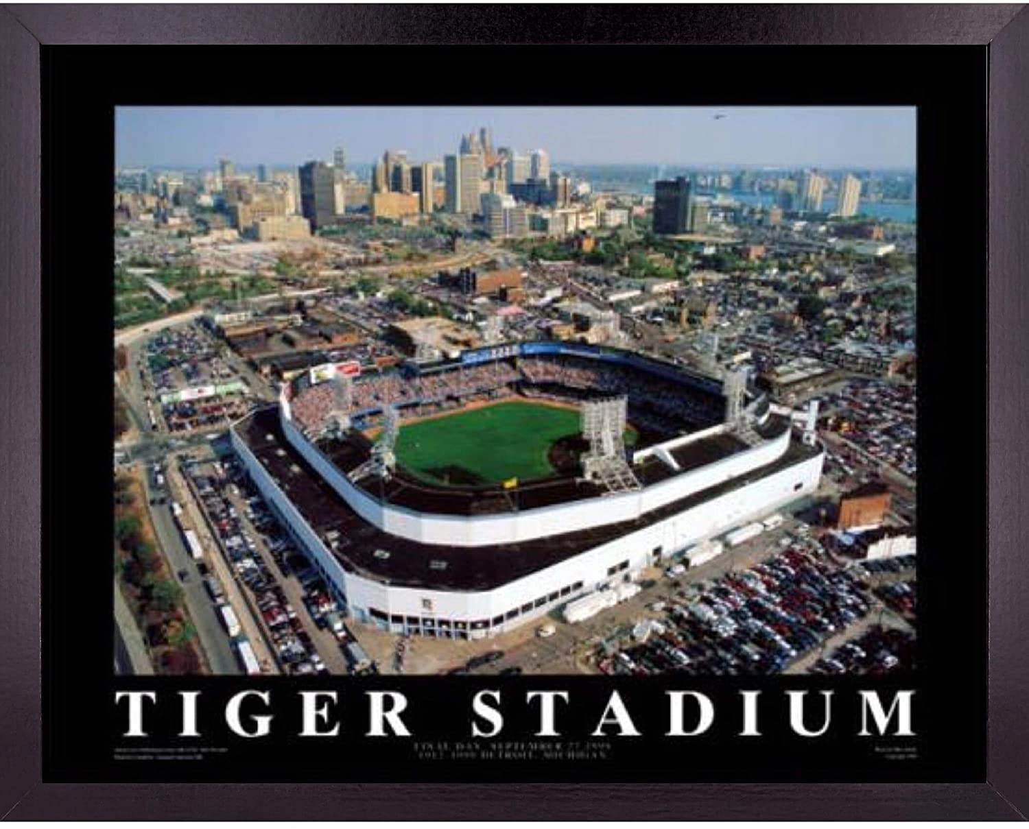 Detroit Tigers Baseball Stadium Poster Wall Art Decor Framed Print | 23 x 29 | Final MLB Game at Tiger Field & Ball Park | Aerial Posters & Pictures | Fan Gifts for Guys & Girls College Bedroom Walls