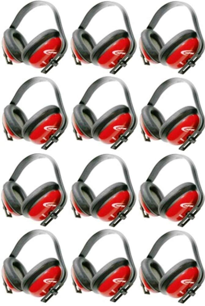 Califone HS40 Hearing Safe Hearing Protector, Rugged Polypropylene Headstrap, Adjustable Headband, ABS Plastic Earcups Designed for High-use Settings, Bright Red Safety Color, Pack of 12
