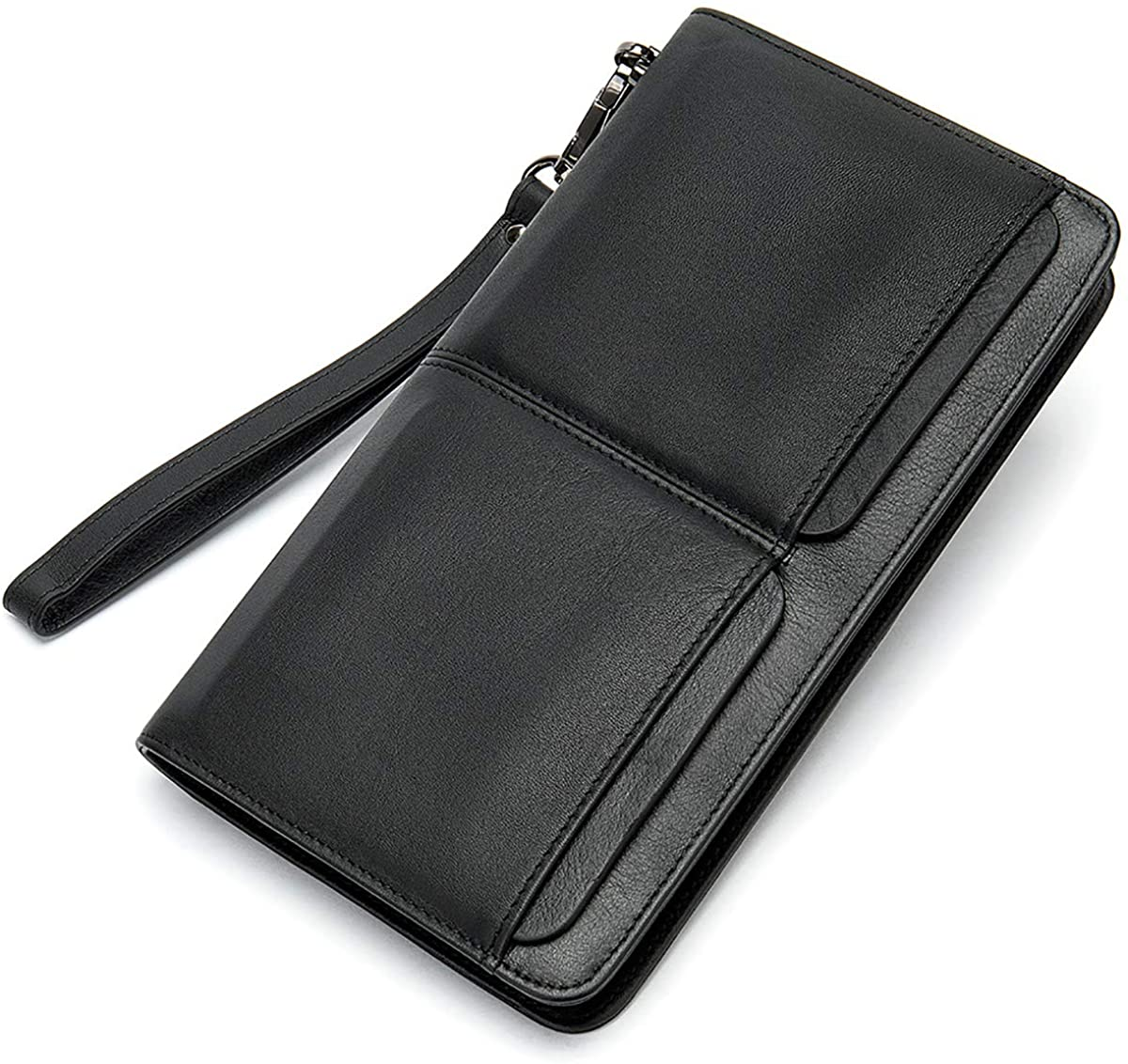 Retro Leather Men's Wallet Multi-function Long Purse Multi-bit Cowhide Clutch Bag