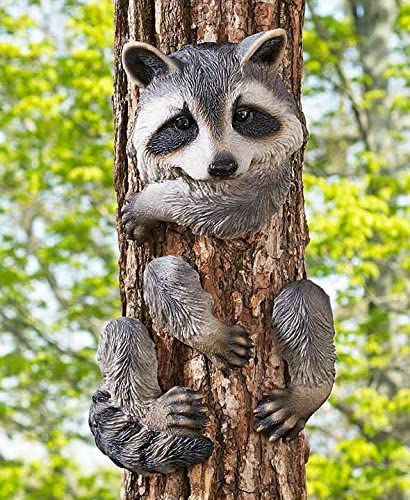 KNL Store Whimsical Animal Tree Hugger Outdoor Decor Yard Garden Decoration (Raccoon)