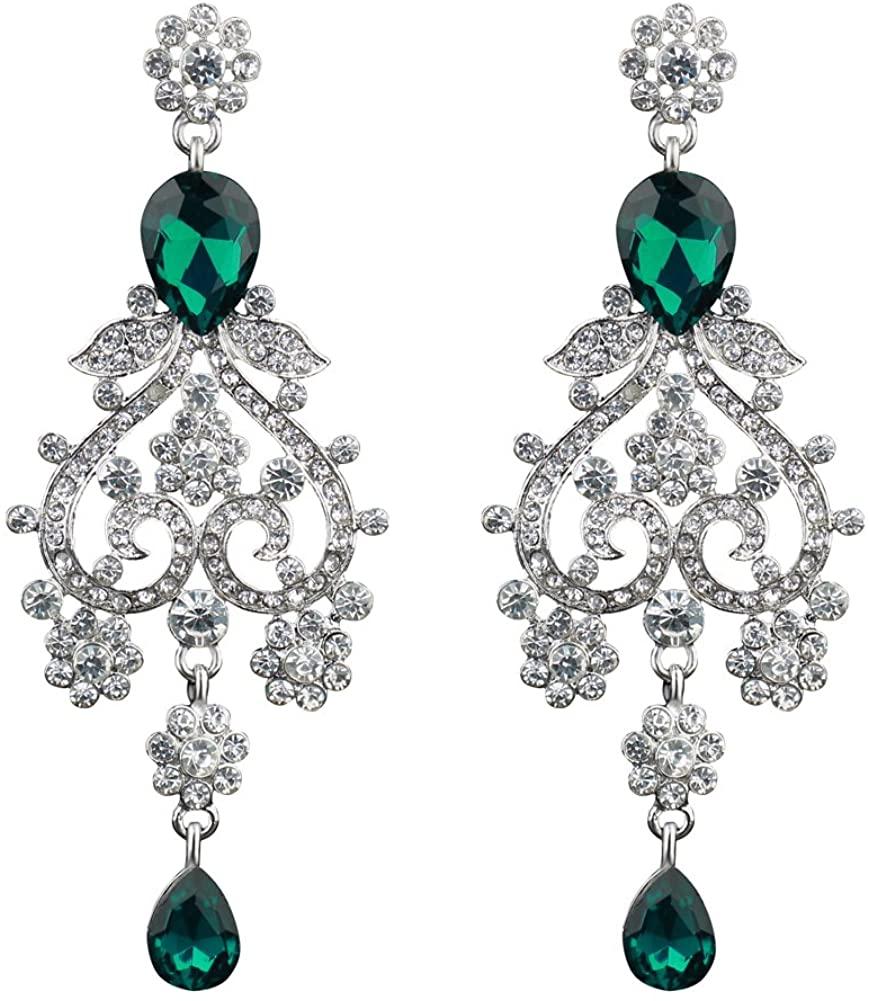Chran Exquisite Teardrop Crystal Bridal Wedding Earrings Vintage Chandelier Dangle Long Earrings for Women