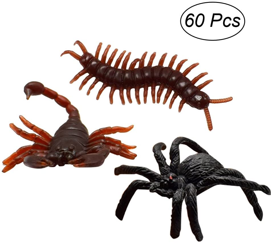 TOYMYTOY Animal Model Realistic Simulation Spider Centipede Scorpion Insect Prank Toys 60PCS