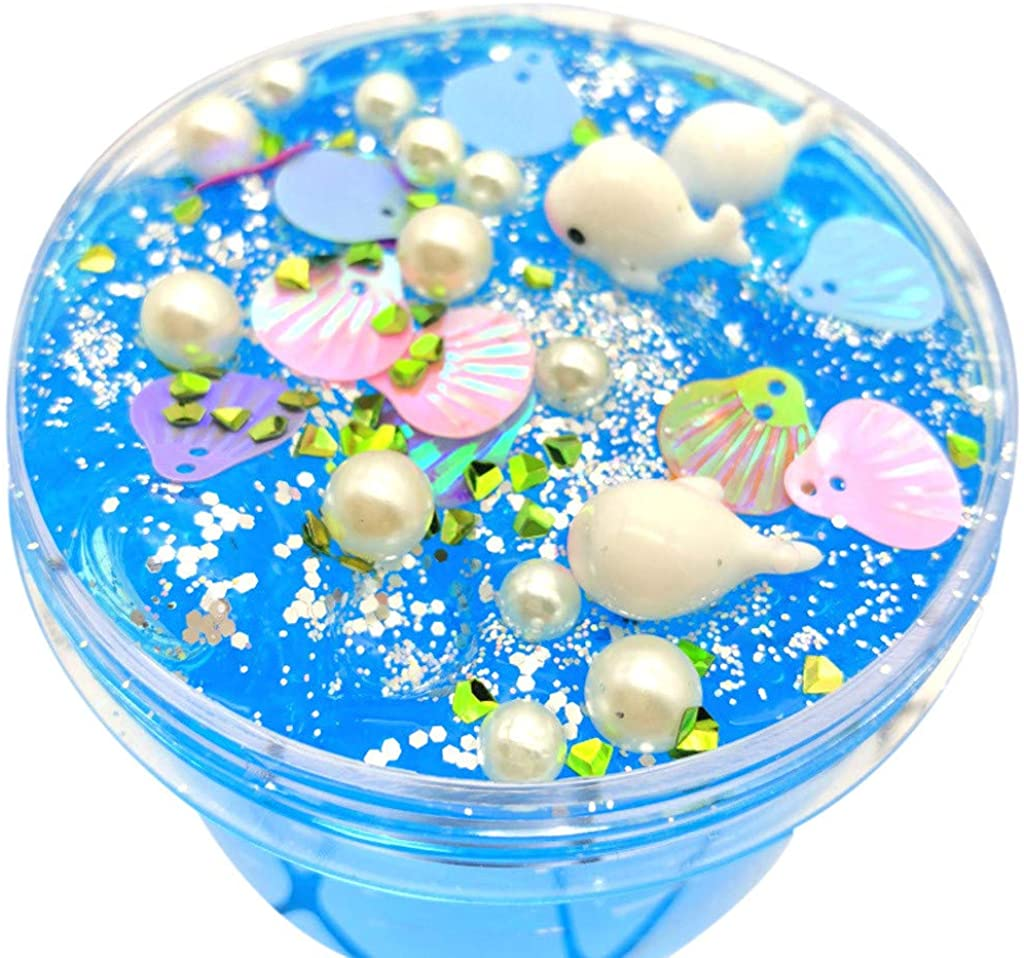 Kids Clear Slime Toys,Glitter Putty Stress Relief Clay Toy Scented Color Ocean Fluffy Non-Toxic Mud Toy for Children Adults (Blue)