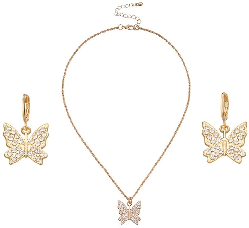 CrystalButterfly Gold Necklace and Earring Set for Elegant Women Pendant Hoop Dangle Earring Jewelry Gift