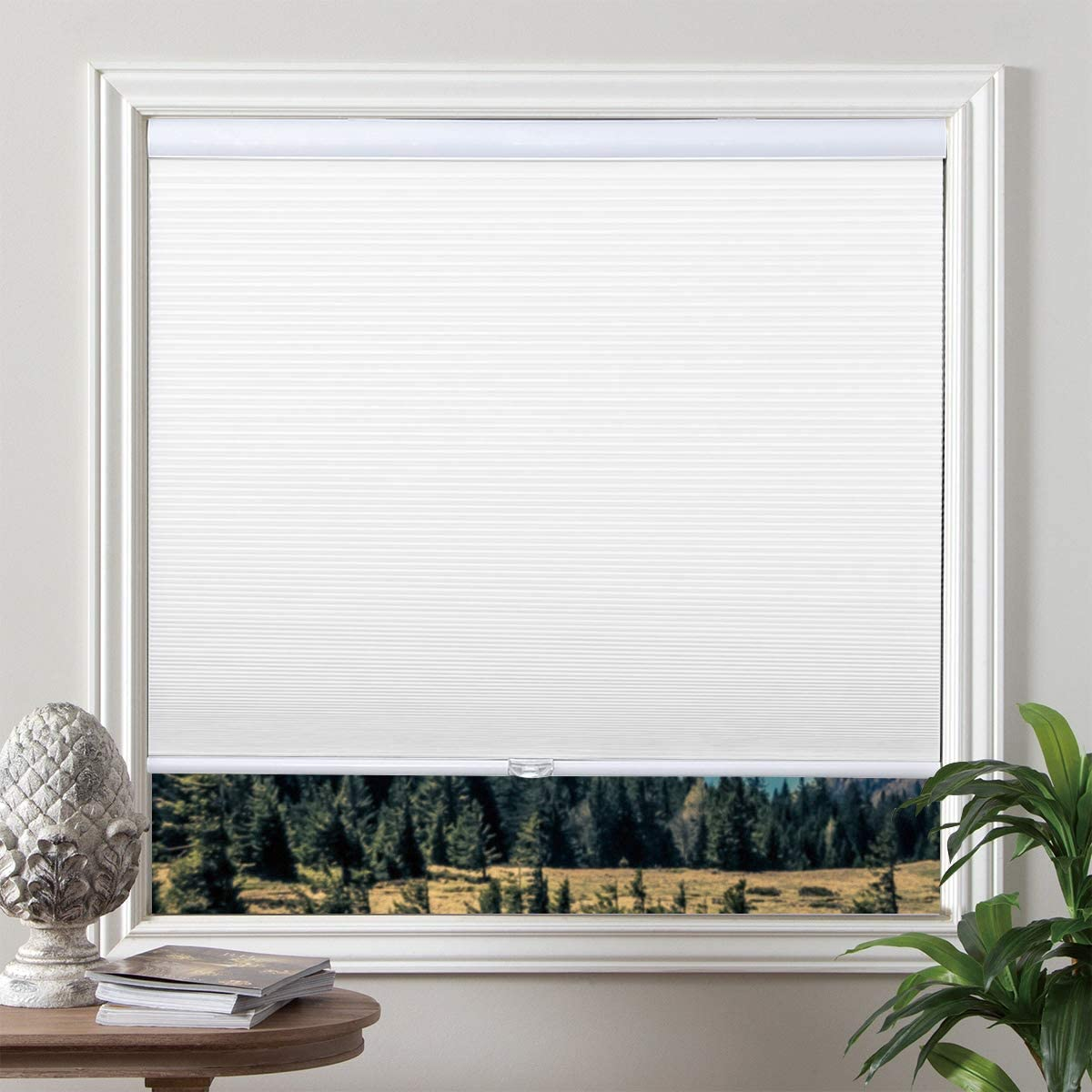 Grandekor Blackout Shades Cordless Blinds Cellular Fabric Blinds Honeycomb Door Window Shades 35x64, White-White