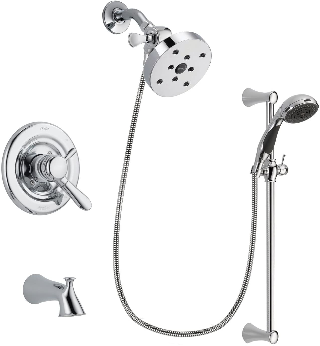 Delta Lahara Chrome Dual Control Tub and Shower Faucet System with 5-1/2 inch Shower Head and 5-Spray Wall Mount Slide Bar with Personal Handheld Shower Includes Rough-in Valve and Tub Spout DSP0819V
