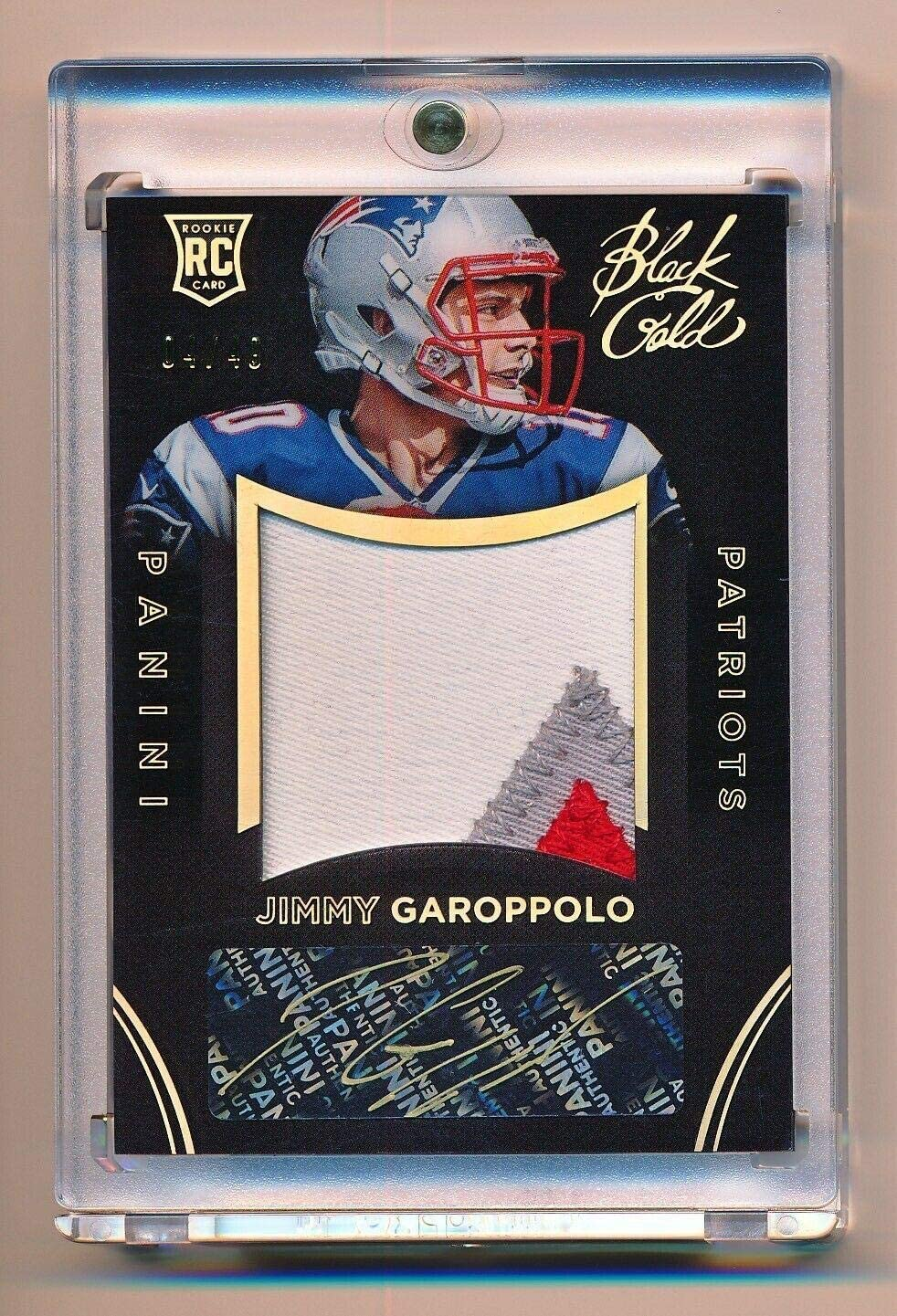 Jimmy Garoppolo 2014 Panini Black Gold Rookie Auto 3 Clr Letter Patch RC #4/49 - NFL Autographed Football Cards