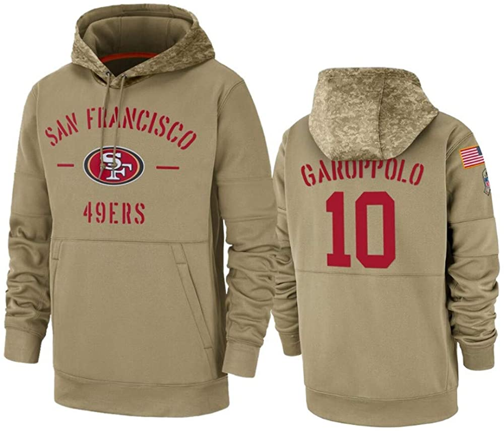 Dunbrooke Apparel San Francisco 49ers #10 Jimmy Garoppolo Tan 2019 Salute to Service Sideline Therma Pullover Hoodie