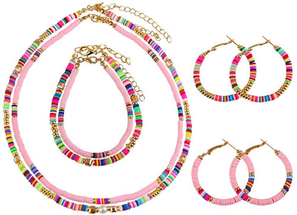 Heishi Surfer Necklace Bracelet Earrings Set, African Vinyl Disc Bead Choker Necklace Bracelet Hoop Earring, Summer Fashion Jewelry for Women, Girls