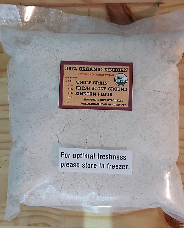 Organic Whole Grain Einkorn Flour, Fresh Stone-Ground & USA Grown, Heritage Grains of Shenandoah- great for gluten issues (1 pound)
