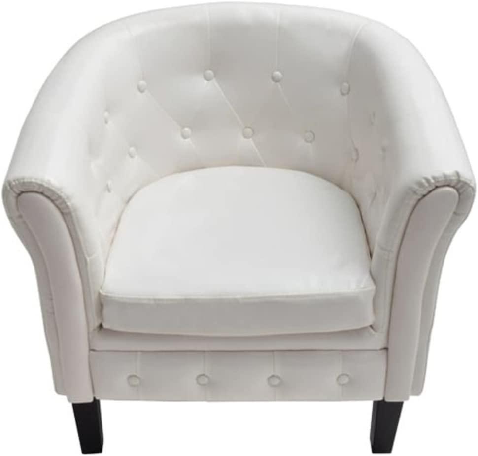Festnight Leather Tub Barrel Club Seat Chair Single Sofa Chair Arm Chair Living Room Reception Armchair Furniture White (27.4 x 24.4 x 28 inch)